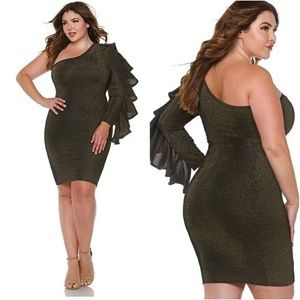 Dresses & Skirts - 1X-3X NEW PLUS SIZE ONE SHOULDER DRESS